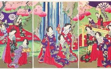 Triptic pictat din epoca Meiji, Japonia