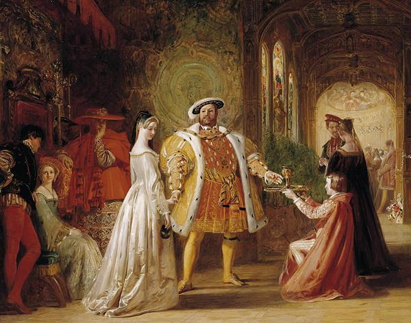 "The meeting of Henry VIII and Anne Boleyn at Hampton Court"" si e pictata de Daniel Maclise"